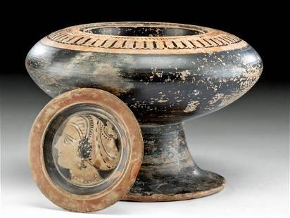 Greek Attic Pottery Plemochoe w/ Apulian Lid