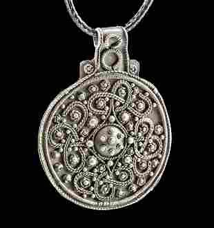 Viking Silver Bracteate Pendant w/ Granules & Filigree