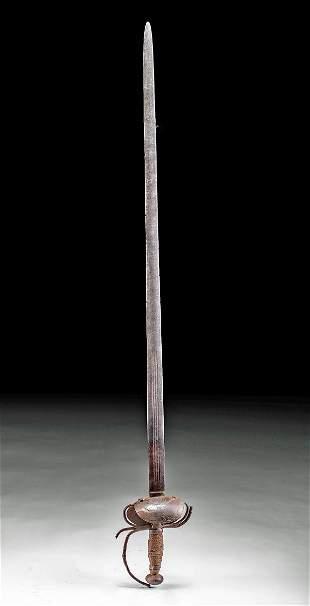 18th C. Spanish Iron & Brass Sword w/ Clamshell Guard