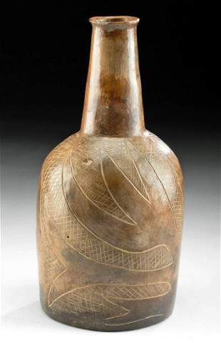 Chavin Pottery Bottle w/ Attractive Incised Decoration
