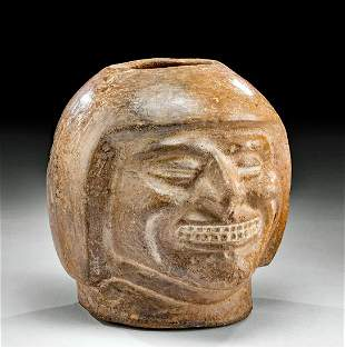 Moche Pottery Portrait Jar - Smiling Face