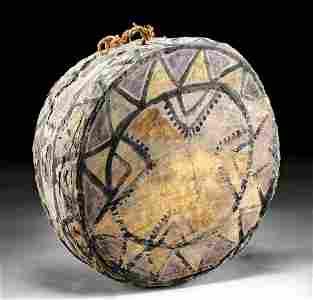 Rare Nazca Polychrome Wood and Hide Tinya Drum