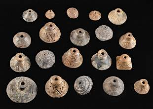 Lot of 20 Quimbaya Pottery Spindle Whorl Beads