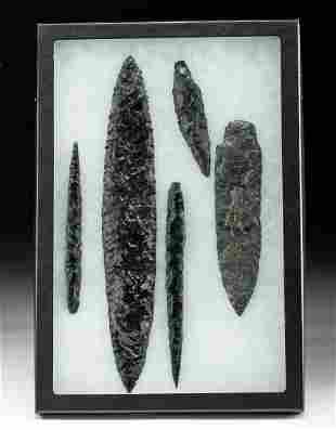 Lot of 5 Colima Obsidian Spearheads