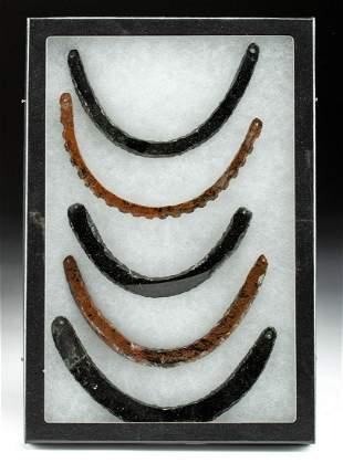 Lot of 5 Colima Obsidian Necklace Pendants
