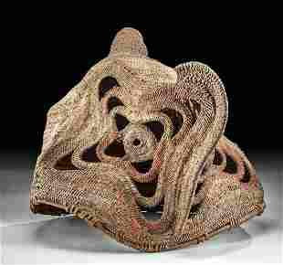 Early 20th C. Papua New Guinea Vegetal Fiber Yam Mask