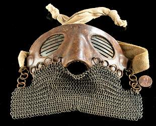 WWI Era Western European Leather & Iron Splatter Mask