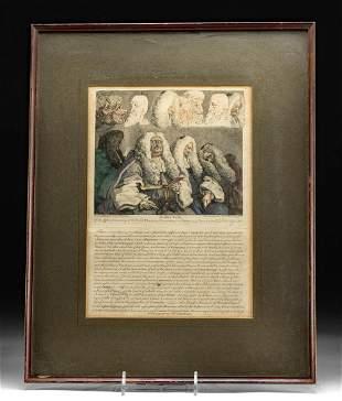 Framed Hogarth Engraving - The Bench, 1758