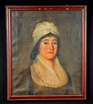 Framed 19th C. American Painting - Portrait of a Woman