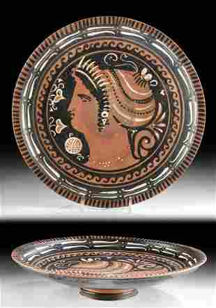 Greek Apulian Red-Figure Footed Plate Lady of Fashion