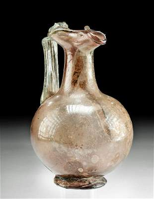 Roman Glass Oinochoe - Aubergine, Applied Green Handle