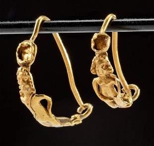 Pair of Roman Gold Earrings - Cupid & Nude Figure