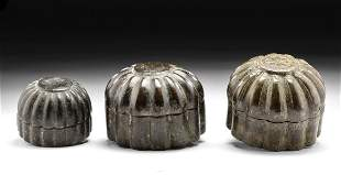 Three 18th C. Indian Mughal Brass Betel Boxes