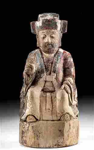 Chinese Qing Dynasty Painted Wood Reliquary Figure