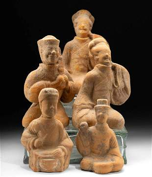 5 Chinese Han Seated Tomb Attendants, TL Tested