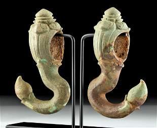 Pair of 12th C. Khmer Bronze Palanquin Hooks