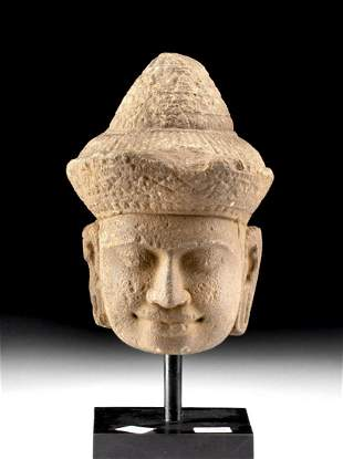 12th C. Khmer Angkor Stone Buddha Head