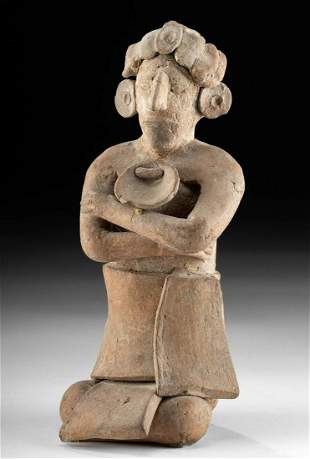Maya Pottery Jaina Seated Figure Crossed Arms TL Tested