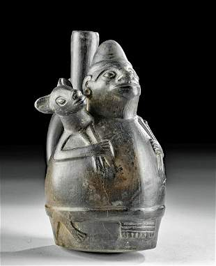 Chimu Pottery Stirrup Vessel with Figure Holding Llama