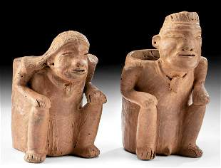 2 Calima Pottery Cargador Vessels - Man & Woman