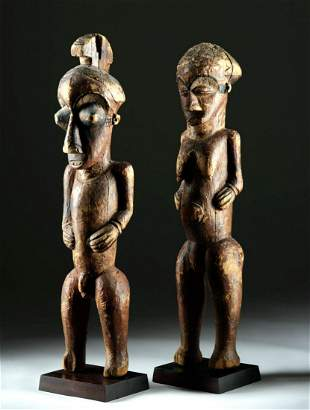 Pair of Early 20th C. Kuba Wooden Initiation Figures