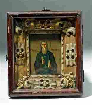 Large 19th C. Russian Icon Sergii of Radonezh (in Kiot)