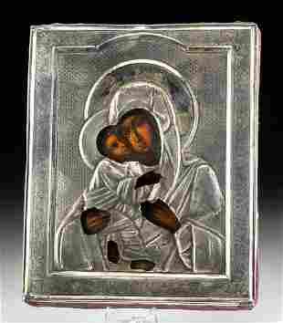 19th C. Russian Icon & Silver Oklad, Virgin of the Kiss