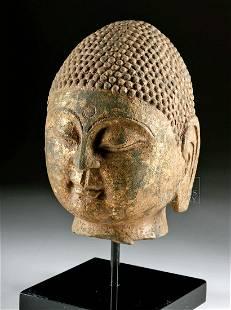 Chinese Qi Dynasty Gilded Stone Buddha Head