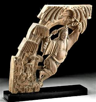 19th C. Chinese Qing Carved Wood Flying Lohan (Arhat)