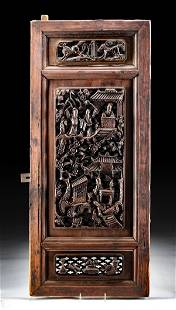 19th C. Chinese Qing Dynasty Carved Wood Window Panel