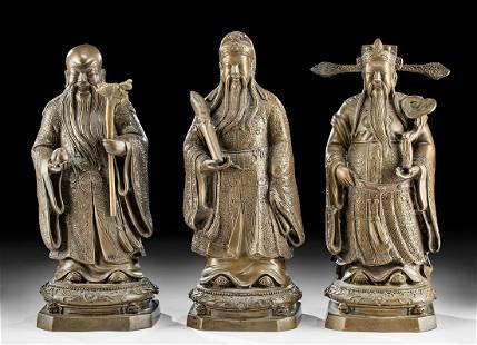 Three 19th C. Chinese Brass Figures of Star Deities