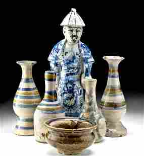 Lot of 6 Chinese Qing Polychrome Vessels & Figure