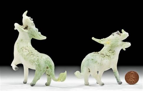 Chinese Qing Dynasty Glass Longmas / Winged Horses
