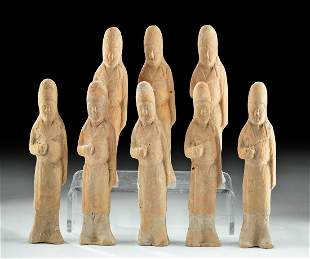 Chinese Han Dynasty Terracotta Attendants (8 figures)
