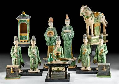 Lot of 13 Chinese Ming Pottery Royal Marriage Assembly