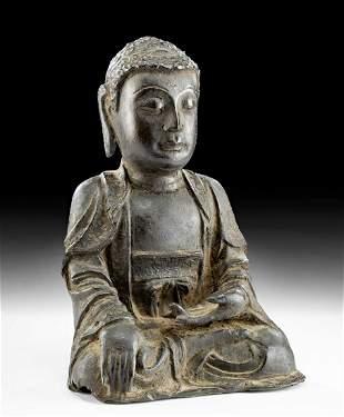 14th C. Korean Joseon Bronze Shakyamuni Buddha