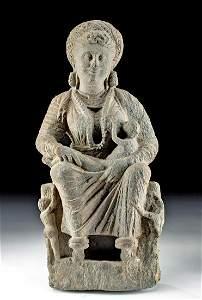 3rd C. Gandharan Schist Figure - Hariti w/ Children