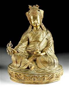 Important 19th C. Tibetan Gilded Bronze Padmasambhava