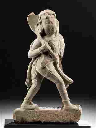 12th C. Khmer Stone Striding Male Figure