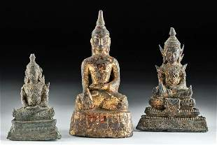 Three 18th to 19th C. Southeast Asian Gilded Buddhas