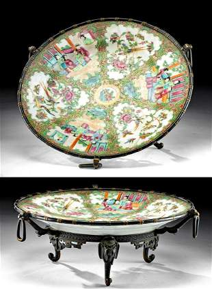 18th C. Chinese Qing Porcelain Plate w/ Gilt Brass Base