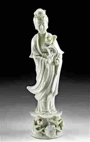 19th C. Chinese Blanc de Chine Porcelain Female Figure