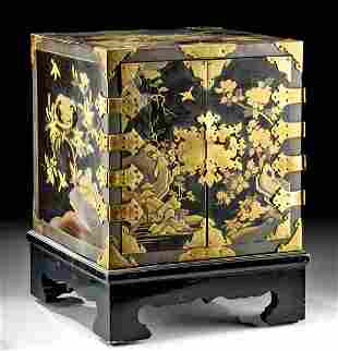 18th C. Japanese Lacquered Wood Treasure Box + Key