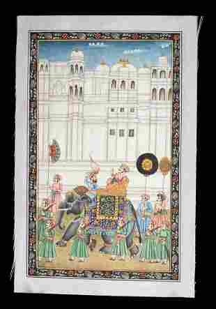 19th C. Indian Mughal Painting Fabric Royal Procession