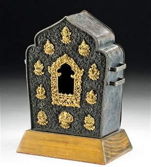 Early 20th C. Tibetan Gilt Silver Gau / Prayer Box