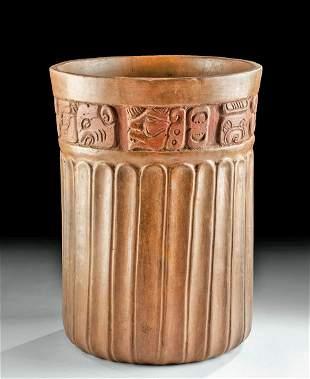 Maya Late Classic Redware Cylinder Glyph Band