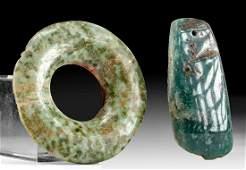 Lot of 2, Olmec Jadeite Celt & Maya Greenstone Earspool