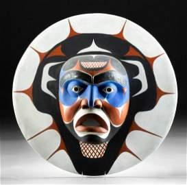 Northwest Coast Kwakiutl Polychrome Wood Sun Mask 1970s