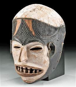 Early 20th C. Nigerian Igbo Wooden Helmet Mask