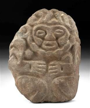 Maya Stone Relief - Seated Deity